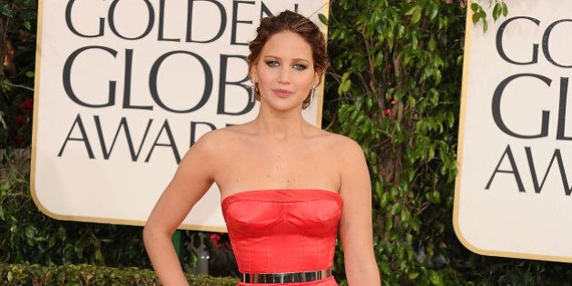 BEVERLY HILLS, CA - JANUARY 13: Jennifer Lawrence arrives at the 70th Annual Golden Globe Awards at The...