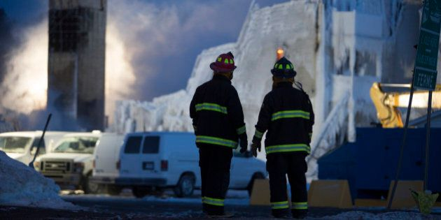L'ISLE-VERTE, QC - JANUARY 23: Walls continue to burn, three people are dead, and 30 remain missing after...