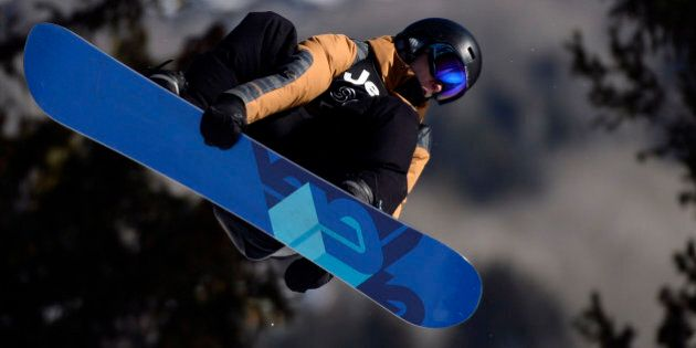 ASPEN, CO - JANUARY 23: Max Parrot rides during the men's snowboard slopestyle eliminator. X Games Aspen...