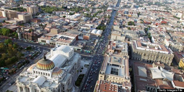 an aerial view of northern part of Mexico City and Palacio de Bellas Artes, Palace of Fine Arts - circa February 2011.