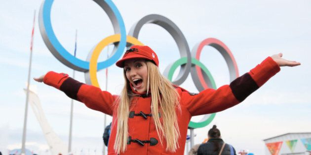 SOCHI, RUSSIA - FEBRUARY 09: (BROADCAST-OUT) Justine Dufour-Lapointe of the Canadian freestyle skiing...