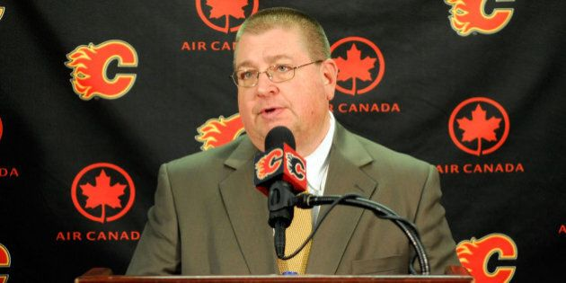 CALGARY, CANADA - JANUARY 12: Calgary Flames General Manager Jay Feaster addresses the media after trading...