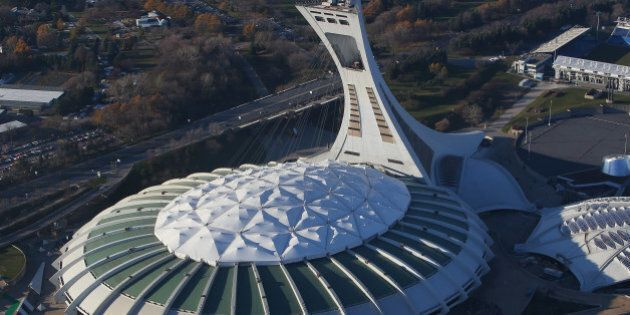MONTREAL, QC - NOVEMBER 18: An aerial view of Olympic Stadium is seen from above on November 18, 2012 in Montreal, Quebec. (Photo by Tom Szczerbowski/Getty Images)