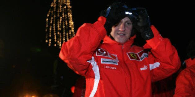 MADONNA DI CAMPIGLIO, ITALY:  German Formula 1 driver Michael Schumacher adjusts his goggles after night skiing in the winter resort of Madonna di Campiglio, in the Dolomites area, northern Italy, 12 January 2005. Schumacher takes part in the traditionnal Ferrari winter meeting with the press. AFP PHOTO / Patrick HERTZOG  (Photo credit should read PATRICK HERTZOG/AFP/Getty Images)