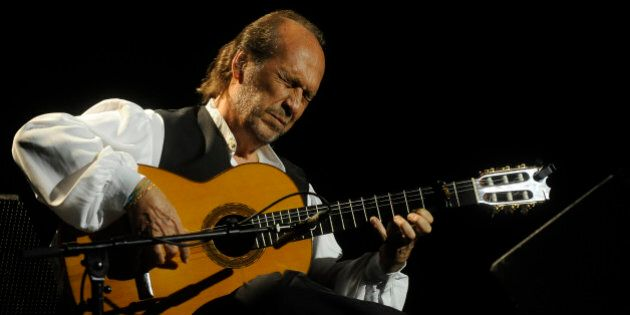 Spanish guitarist Paco de Lucia performs on stage during the 37th Jazz Festival of Vitoria on July 20,...