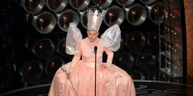HOLLYWOOD, CA - MARCH 02: Host Ellen DeGeneres speaks onstage during the Oscars at the Dolby Theatre...
