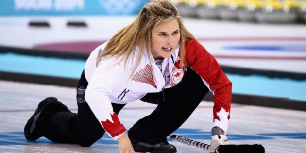 SOCHI, RUSSIA - FEBRUARY 20:  Jennifer Jones of Canada in action during the Gold medal match between Sweden and Canada on day 13 of the Sochi 2014 Winter Olympics at Ice Cube Curling Center on February 20, 2014 in Sochi, Russia.  (Photo by Clive Mason/Getty Images)