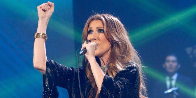 PARIS, FRANCE - NOVEMBER 25: Singer Celine Dion performs at Palais Omnisports de Bercy on November 25,...
