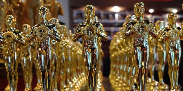Oscar statuettes are lined up in a local souvenir shop 10 days prior to this year's upcoming Oscars,...
