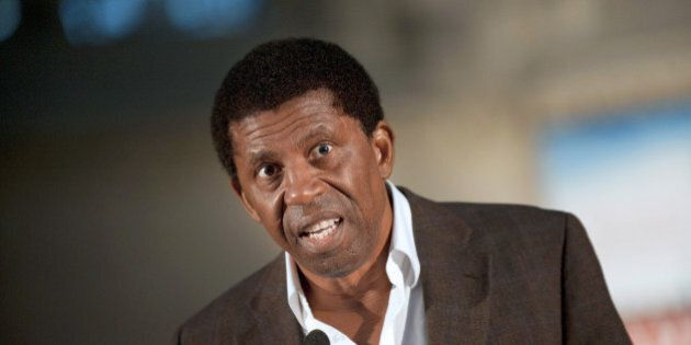 Haitian author Dany Laferriere gives a speech during the opening of the America literature festival at...