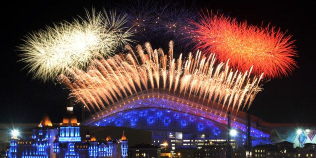 Fireworks explode over the Fisht Olympic Stadium at the begining of the Opening Ceremony of the Sochi...