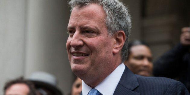 NEW YORK, NY - SEPTEMBER 16: New York City Democratic mayoral candidate Bill De Blasio, speaks outside...