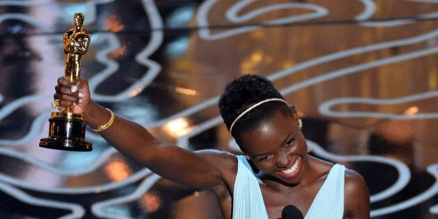 HOLLYWOOD, CA - MARCH 02: Actress Lupita Nyong'o accepts the Best Performance by an Actress in a Supporting...