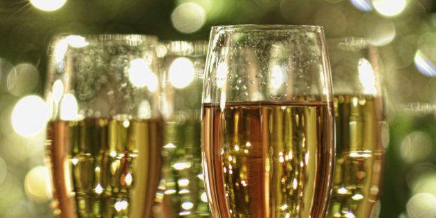 glasses of champagne sparkle...