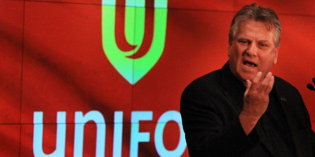 TORONTO, ON - MAY 30: Ken Lewenza unviels a new name and logo, Unifor, for the merged CAW (Canadian Auto...