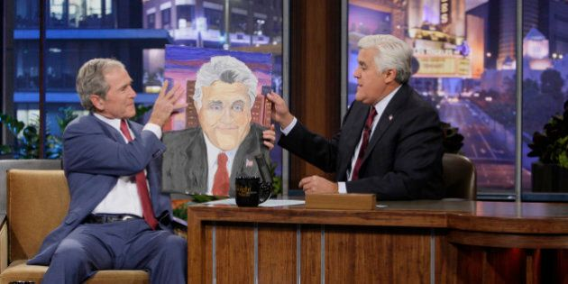 THE TONIGHT SHOW WITH JAY LENO -- Episode 4570 -- Pictured: (l-r) Former President George W. Bush during...