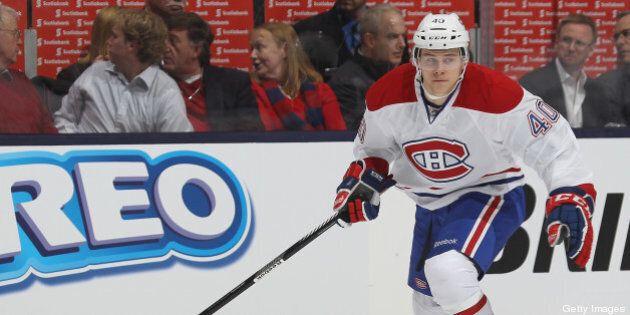 TORONTO, CANADA - APRIL 13: Nathan Beaulieu #40 of the Montreal Canadiens skates against the Toronto...