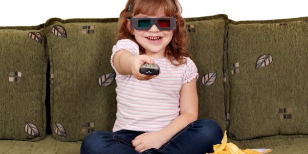 happy little girl with 3d...