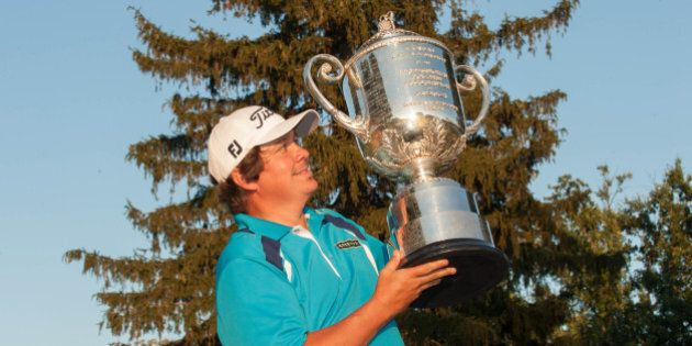 ROCHESTER, NY - AUGUST 11: 2013 PGA Champion, Jason Dufner of the United States, at the Champion Presentation during the 95th PGA Championship, at Oak Hill Country Club, on August 11, 2013 in Rochester, NY. (Photo by Montana Pritchard/The PGA of America via Getty Images)