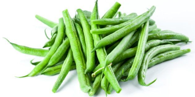 green beans isolated on a white ...