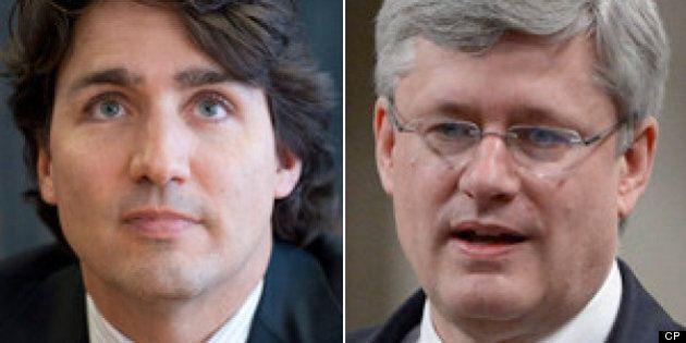 Sondage: Justin Trudeau et Stephen Harper perçus comme deux personnes aux