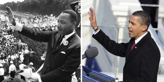 A combination image shows US civil rights leader Martin Luther King Jr. (R) as he waves to supporters...