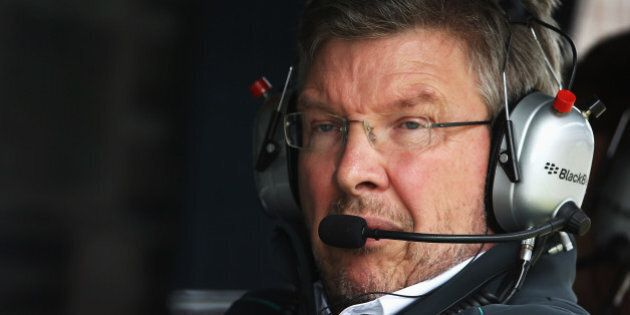 NORTHAMPTON, ENGLAND - JUNE 29: Mercedes GP Team Principal Ross Brawn is seen during qualifying for the...