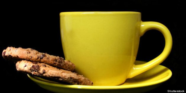 yellow coffee cup and cookies...