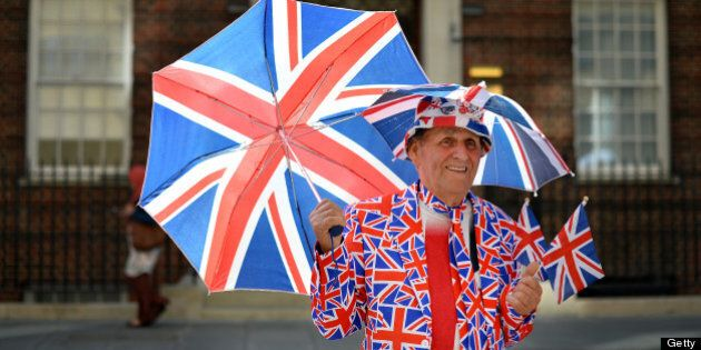 Royal supporter Terry Hutt poses for pictures outside the Lindo Wing of St Mary's Hospital in London,...