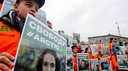 Greenpeace manifeste en appui aux militants canadiens arrêtés pour
