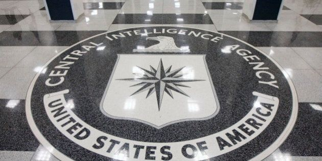 UNITED STATES - SEPTEMBER 18: The seal of the Central Intelligence Agency is displayed in the foyer of...