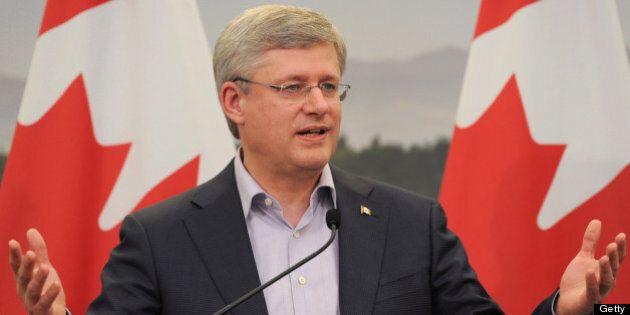 ENNISKILLEN, NORTHERN IRELAND - JUNE 18: Canada's Prime Minister Stephen Harper speaks during a press...