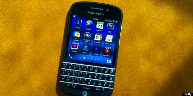 The new BlackBerry Q10 is displayed for a photograph in San Francisco, California, U.S., on Tuesday,...