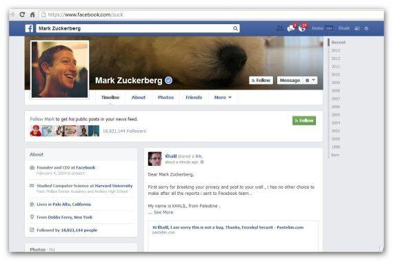 Facebook: un hacker pirate le mur de Mark Zuckerberg pour faire part d'un