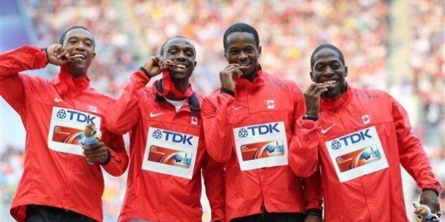 Mondiaux d'athlétisme: les sprinteurs canadiens du relais 4 x 100 m remportent le