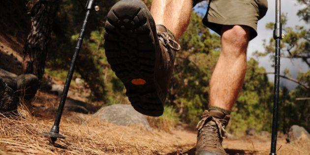 hiking man with trekking