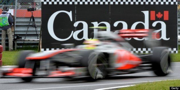 McLaren Mercedes driver Sergio Perez of Mexico enters the pits during practice session 3 at the Canadian...