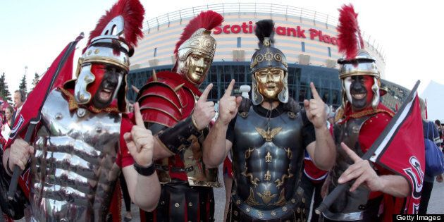 OTTAWA, CANADA - MAY 5: Fans dressed as gladiators cheer in front of Scotiabank Place prior to the game...