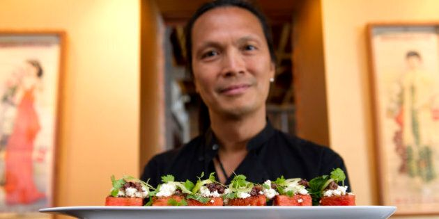 Chef, Susur Lee with his watermelon salad. July 6, 2011 TANNIS TOOHEY/TORONTO STAR (Photo by Tannis Toohey/Toronto Star via Getty Images)