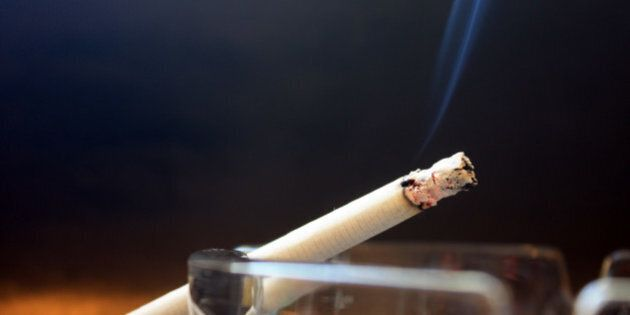 burning cigarette with