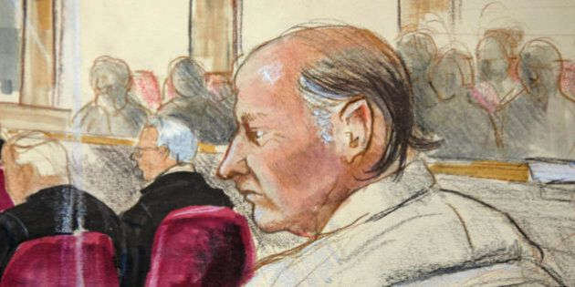 New Westminster, CANADA: This artist's drawing shows accused serial killer Robert William Pickton sitting...