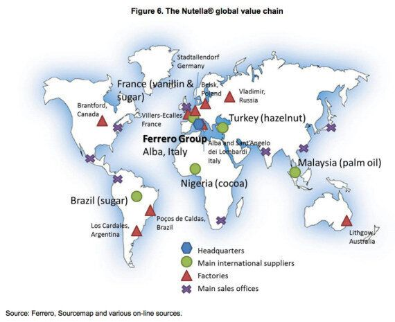 Nutella : la carte du monde des