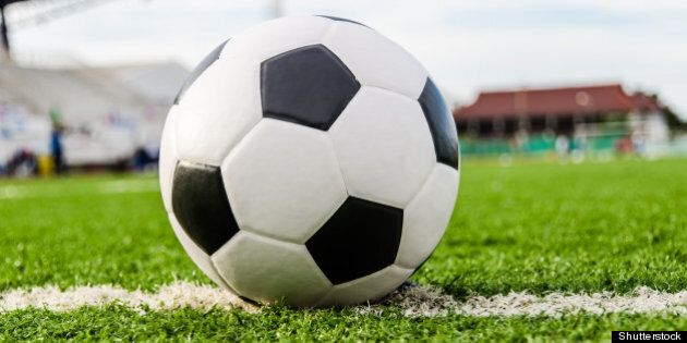 soccer football on line of...