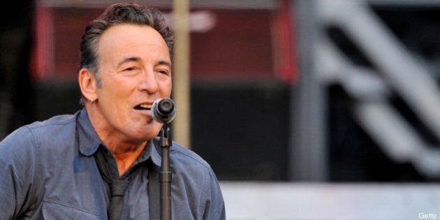 GENEVA, SWITZERLAND - JULY 03: Bruce Springsteen and The E Street Band perform at the Stade de Geneve...