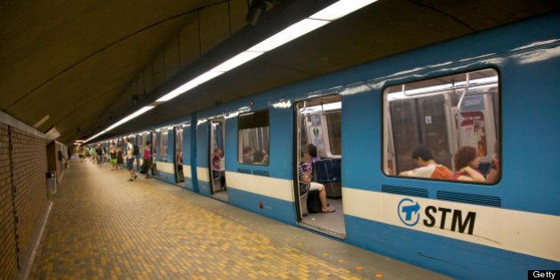 Metro station with train, Mont Royal station, Montreal, Quebec,