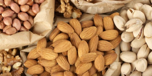 close up of assorted nuts in...