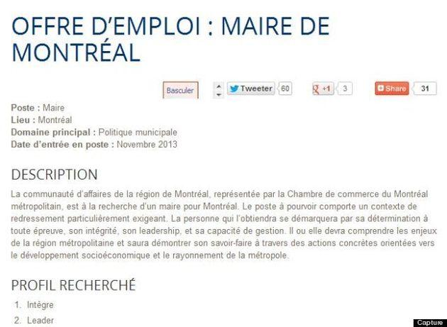 Offre d'emploi de la Chambre de commerce du Montréal métropolitain pour trouver le prochain maire de