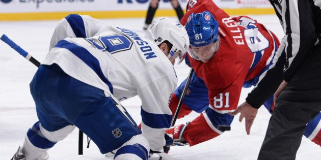MONTREAL, QC - NOVEMBER 12: Lars Eller #81 of the Montreal Canadiens and Tyler Johnson #9 of the Tampa...