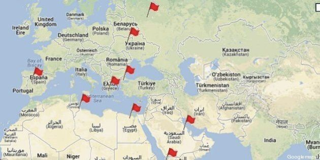 De Tahrir au Caire à Taksim à Istanbul, les grandes places de la contestation (CARTE