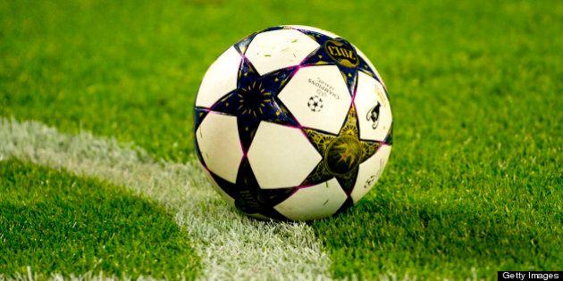 The match ball is seen during the UEFA Champions league second leg quarter final football match between...